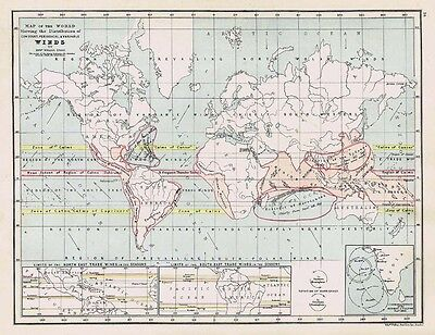 Prevailing Wind Patterns of the World - Antique Map c1870 by Weller