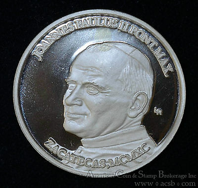 Pope John Paul II Zacatecas 1990 Proof UCAM .999 Silver Medal 38mm 29g.