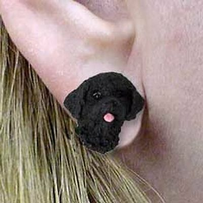 Portuguese Water Dog Tiny One Dog Head Post Earrings Jewelry