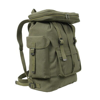 Olive Drab Green European HW Canvas Rucksack Shoulder School Book Backpack Bag