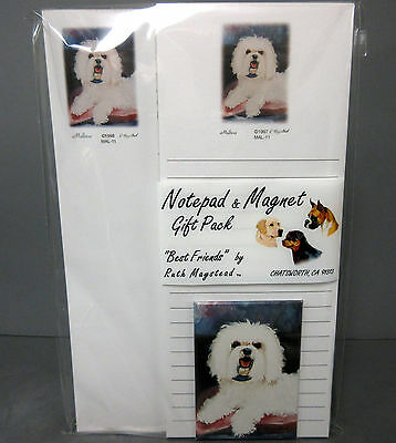 New Maltese #MAL-4 Dog List Pad Note Pad & Magnet Set  2 Pads Malteses Dogs