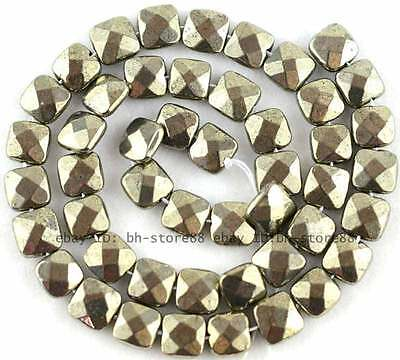Faceted Cut 8mm Natural Pyrite flat square Gemstone Beads 15''
