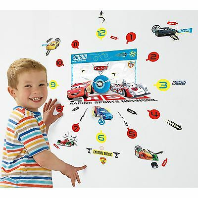 Disney Cars 'tick Tock' Clock With 50 Wall Stickers Official Room Decor