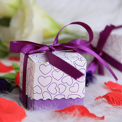 50PCS Paper Heart Candy Box with Ribbon Wedding Bridal Party Favors Gift Purple