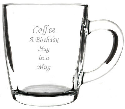 Personalised Large Latte Cappuccino Glass Coffee Cup Mug, Engraved Birthday Gift