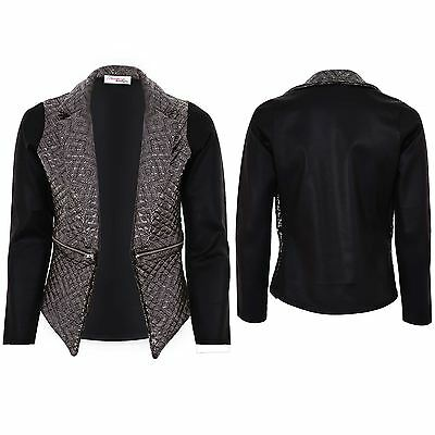Ladies Metallic Quilted PVC Wet Look Women's High Low Zip Smart Jacket Blazer