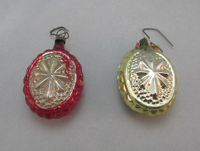 2 Vintage Hand Painted Glass Yellow/red Snowflake Christmas Ornaments  **