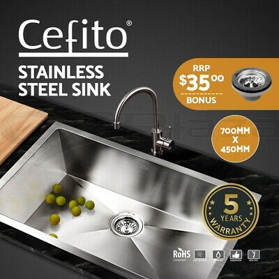 Cefito Kitchen Sink Stainless Steel Laundry Top/Undermount Singe Bowl 700x450mm