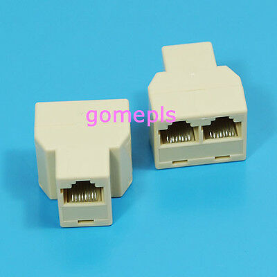 2pcs Splitter 1to2 Network Ethernet Connecter Adapter RJ45