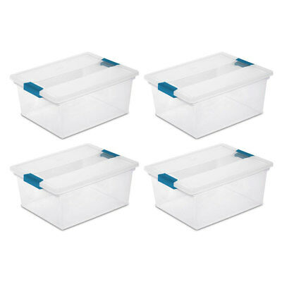 Sterilite Deep Clip Box Clear Plastic Storage Tote Container with Lid, 4 Pack