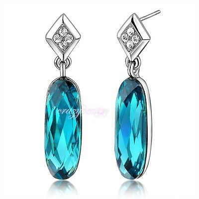 Green blue Oval stone earring dangles 18k white gold plated lady XMAS gift E203