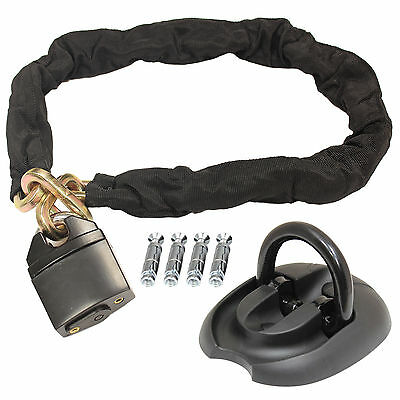 Ryde 1M Heavy Duty Motorcycle Padlock Chain & Flip Up Wall/Ground Anchor Lock