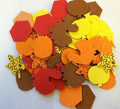 50 Thanksgiving Fall Leaves Self Adhesive Foam Shapes Stickers Teacher Supply