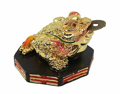 Feng Shui Colorful Gold Money Toad Coin Frog with Bagua Base Office Decoration