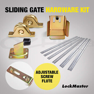 Giantz Sliding Gate Hardware Accessories Kit Track Wheels Stopper Roller Guide