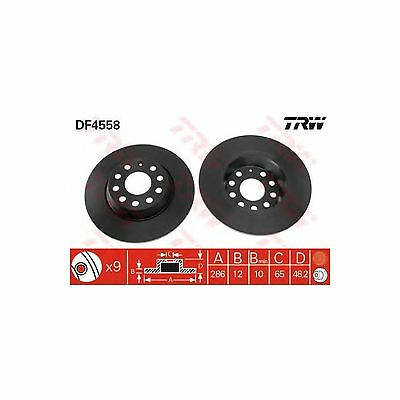 TRW Rear Brake Discs Solid Pair Genuine OE Quality Service Part