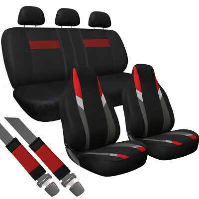 10pc Set Red Gray Black Integrated + Matching Bench VAN High Back Seat Covers