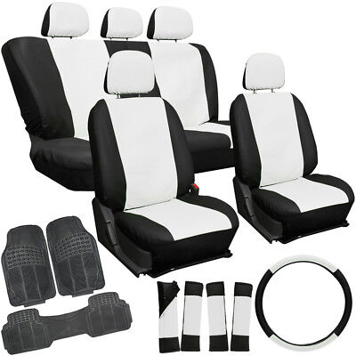20pc PU Leather White SUV Seat Cover Set + Heavy Duty Rubber Floor Mats 3C
