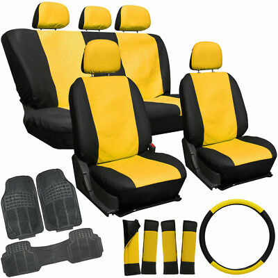 20pc PU Faux Leather Yellow Black VAN Seat Cover Set + HD Rubber Floor Mats 4C