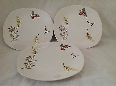 """3 X Midwinter Falling Leaves 8.75"""" Plates Excellent Condition First Quality"""