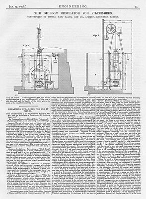 1908 2x Antique Engineering Prints - The Didelon Regulator for Filter Beds