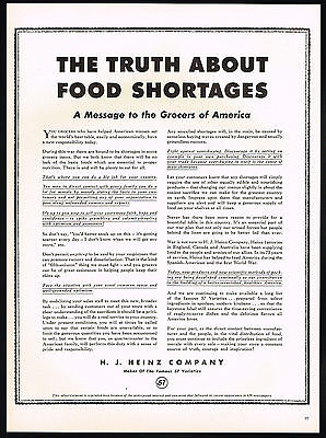 1942 H J Heinz Company WWII Truth About Food Shortages Print Ad