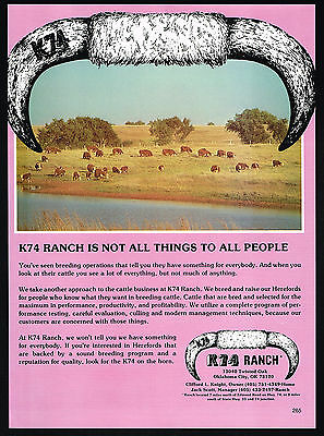 1980 K74 Ranch Hereford Bull Cow Cattle Oklahoma Vintage Print Ad