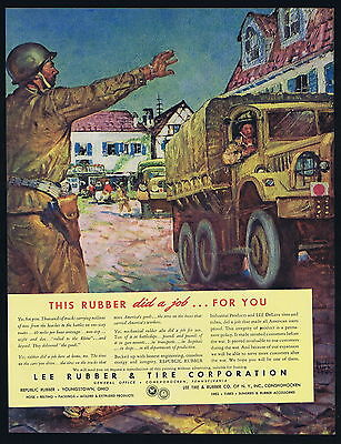 1945 Lee Rubber Tire WWII US Army Trucks Soldiers Benton Clark Art Ad