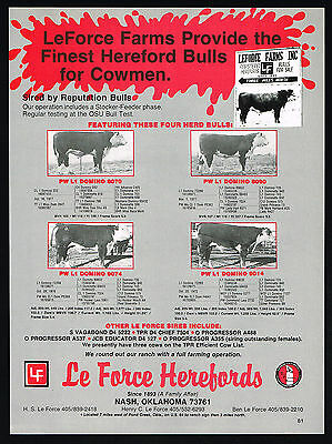 1980 Le Force Hereford Bull Cow LeForce Nash Oklahoma Print Ad