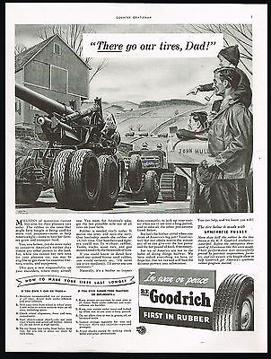 1942 BF Goodrich Tires WWII Military Transport Farm Country Print Ad