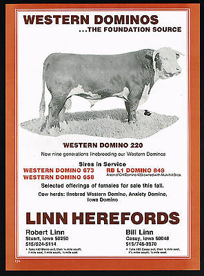 1980 Linn Hereford Cow Bull Western Domino Iowa Print Ad