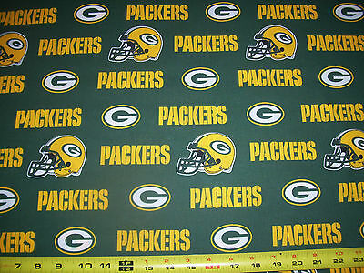 "GREENBAY PACKERS - NFL  60""  WIDE - 100%  COTTON 1 YARD  PIECE  NEW  GREEN"