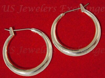 "New Classic 14K White Gold Plate Gp 3/4"" Graduated Size Hoop Earrings #315"