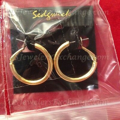 "New Classic 14K Yellow Gold Plate Gp 1"" Hoop Earrings Free Ship #316"