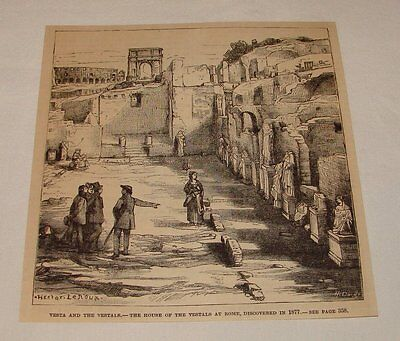 1887 magazine engraving ~ HOUSE OF VESTALS At Rome