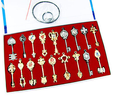 18 Pcs Fairy Tail Lucy Heart Key Chain Celestial Spirit Gate Weapon Necklace New