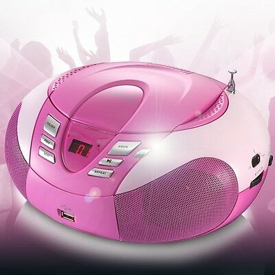 MP3 CD-Player UKW MW Radio Tuner USB Boombox Stereoanlage Lenco SCD-37 USB pink