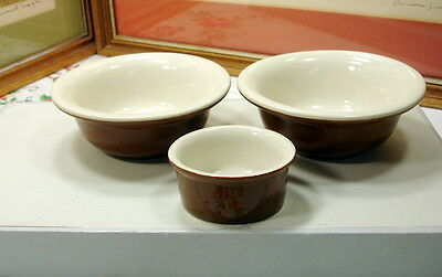 THREE HALL BOWLS & ONE #362 & TWO #391 BROWN