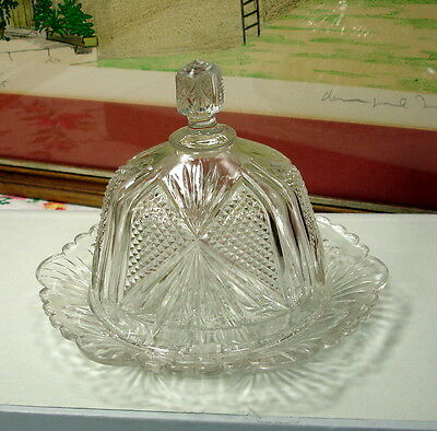 EAPG FAN DESIGN COVERED BUTTER DISH 1900-1920