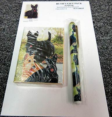 New Scottish Terrier Dog Playing Card Pen & Note Pad Gift Set Scottie Dogs
