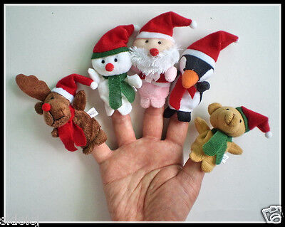 Christmas Family Finger Puppets Cloth Doll Baby Educational Hand Toy Story W001