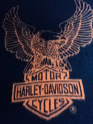 HARLEY DAVIDSON.EAGLE.BIEDERLACK BLANKET.MOTORCYCLE.USA.BLACK.ORANGE.SOFT