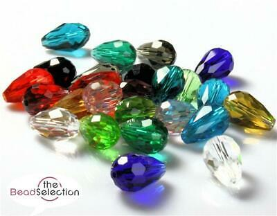 10 x FACETED TEARDROP CRYSTAL GLASS PENDANTS 15mm OR 10mm 15 COLOUR CHOICE