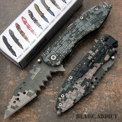 "7"" Military Camo Mutilator Tactical Spring Assisted Open Pocket Knife 729DGS-U"
