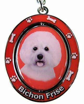 BICHON FRISE Dog Spinning Keychain Key Chain Ring