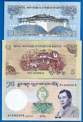 Bhutan P-27,P-28,P-29 1,5,10 Ngultrum Uncirculated Banknotes Set-S6