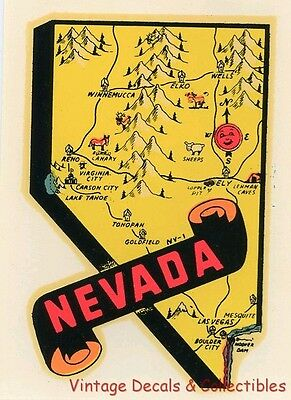 Vintage Nevada State Map Souvenir Travel Water Decal Sticker Lindgren Turner Art
