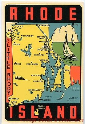 Vintage Rhode Island State Rhody Lindgren-Turner Souvenir Car Travel Water Decal