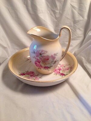 Old Foley James Kent Staffordshire Pitcher And Bowl Cabbage Roses Shabby Chic