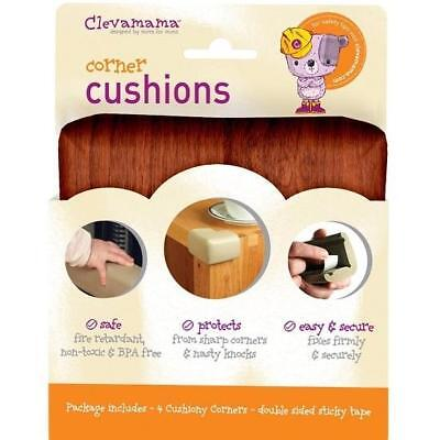 Clevamama Corner Cushions (Wood Effect x4 Regular) Baby Proofing Home Safety